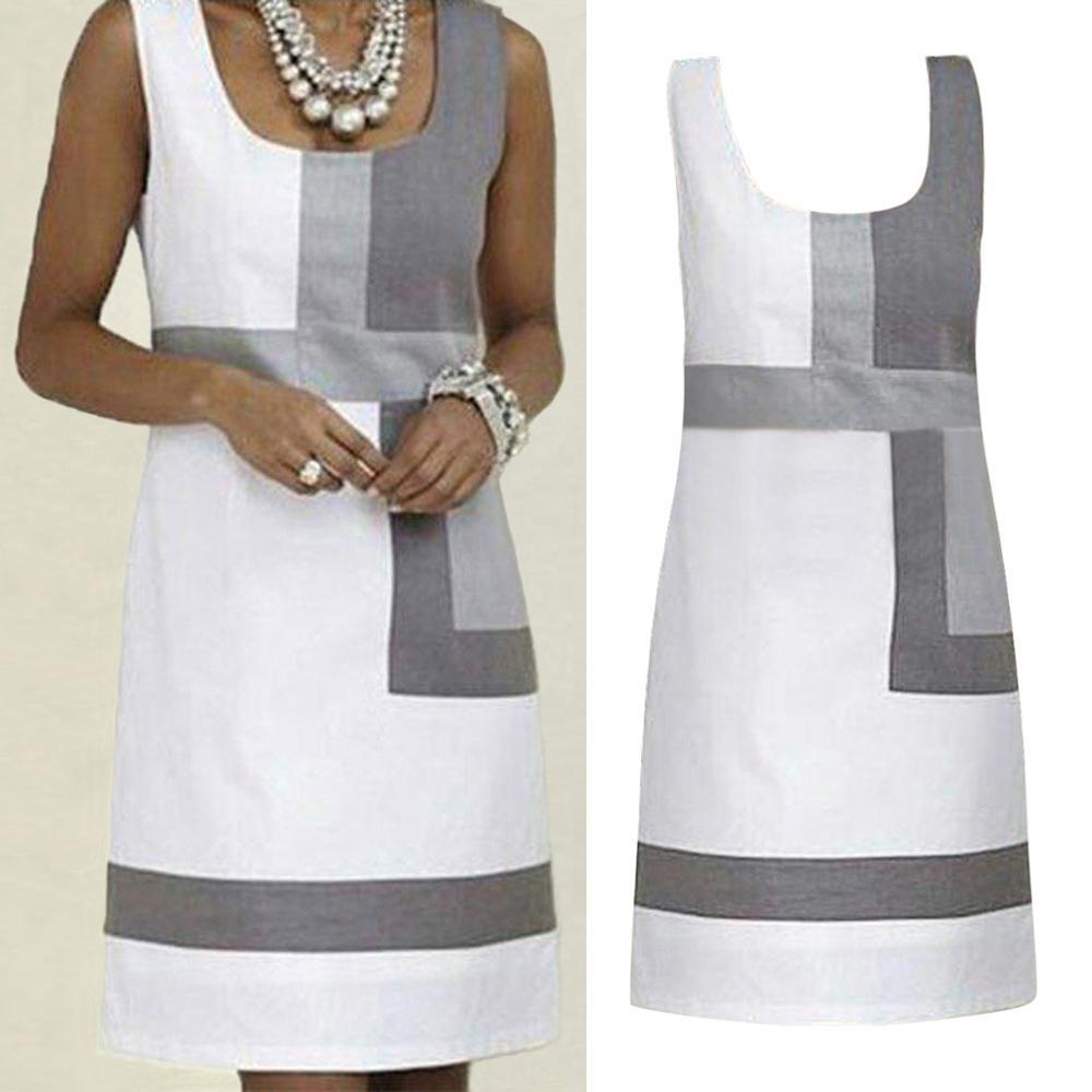 Summer Dress 2019 Fashion Slim Fit Shift Geometric Print Patchwork Color Sleeveless White Women Mini Dress