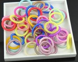 Bande gomme de fil de téléphone pour femme | Scrunchies populaires, corde de cheveux élastique couleur bonbon, accessoires pour cheveux