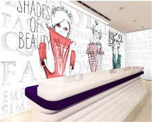 beibehang Senior interior decoration painting personality wallpaper clothing shop fashion girl background papel de parede tapety