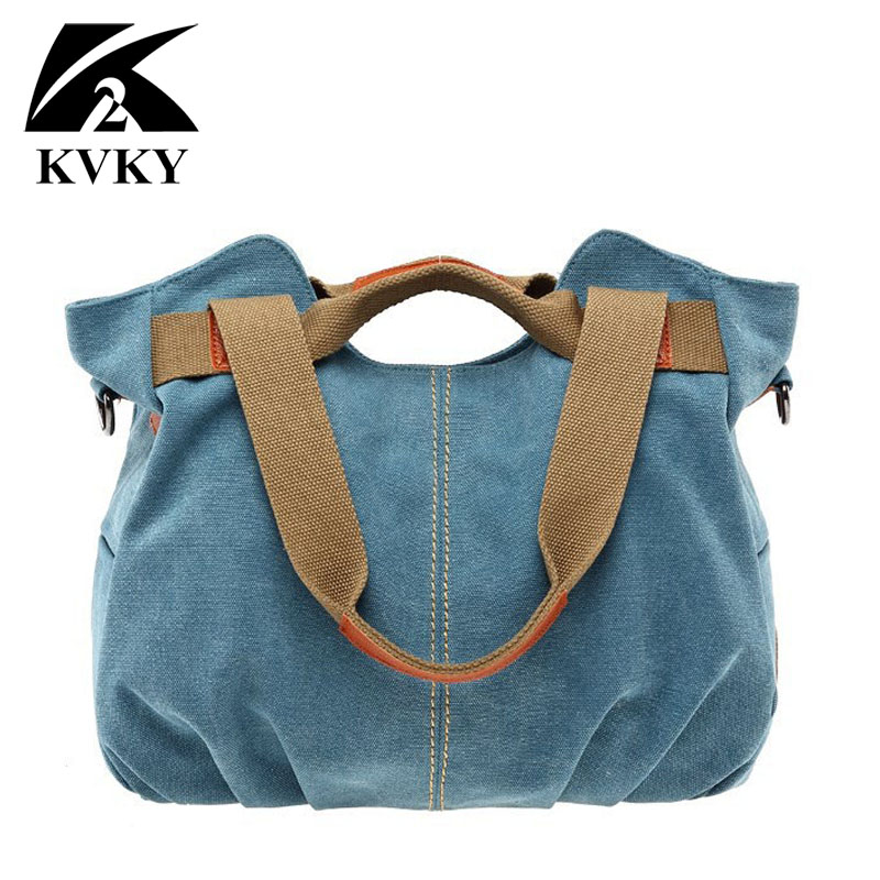 KVKY Brand Hot Fold Casual Tote Women's Handbag Shoulder Crossbody Bags Canvas High Capacity Bag for Women Female bolsa feminina-in Top-Handle Bags from Luggage & Bags
