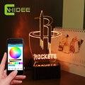 USB Altavoz Bluetooth Rockets Basketball NBA NightLight Led Lampara de Decoración Para el Hogar Inteligente APP Controlado 3D Música Lámpara de Mesa de Luz