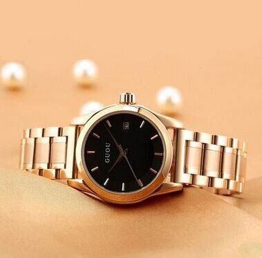 GUOU durable stainless steel watch strap watch ancient European minimalist fashion ladies watch with calendar watc