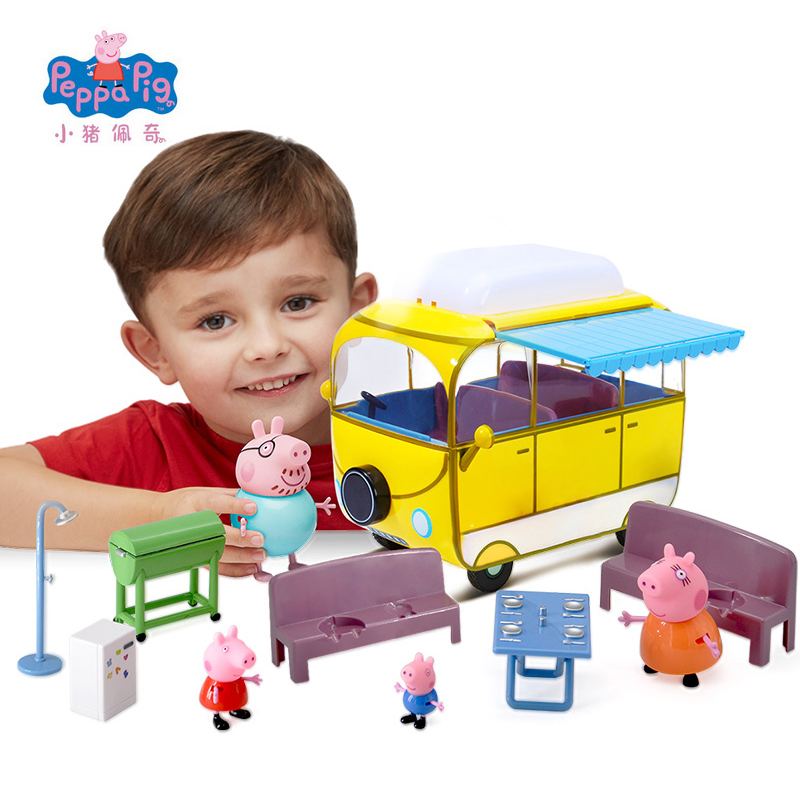 New Genuine Peppa Pig George Family Truely Scene Camping Car Model Educational Toy Best Birthday Christmas Gifts Toys For Kids genuine peppa pig 44cm cartoon peppa s toy ukulele kids toys gift fun to learn perfect way for kids to get started with music