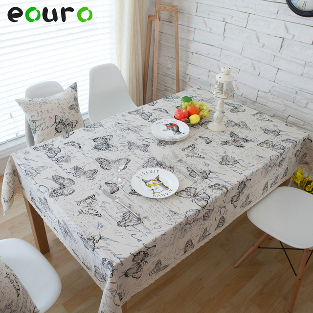 Hand Painted Erfly Design Linen Lace Table Cloth Desk Cover Tablecloths Coffee
