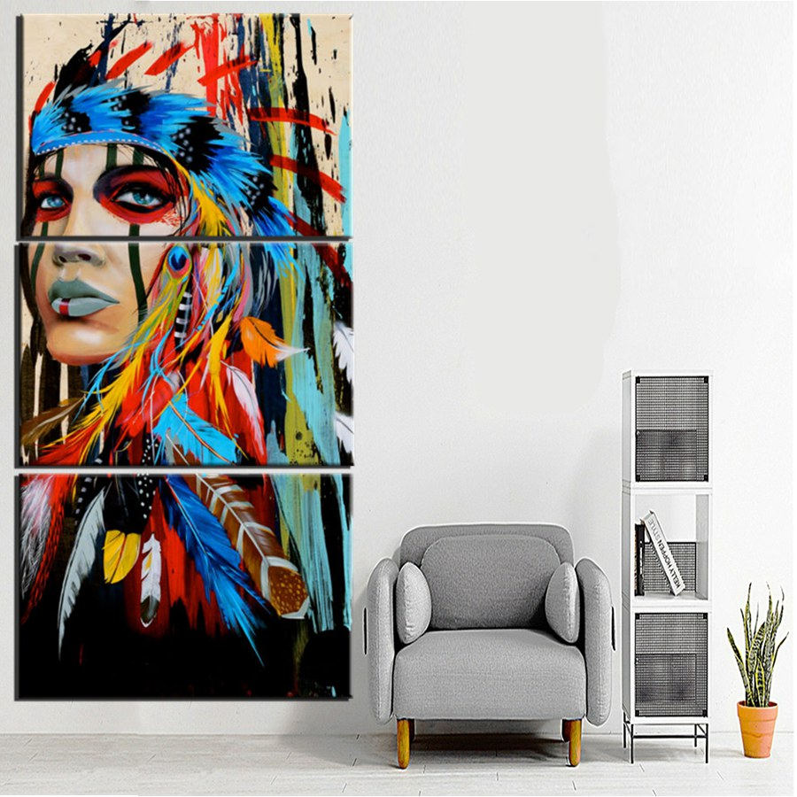 Beauty art Canvas Painting Native American Indian Girl Feathered ...