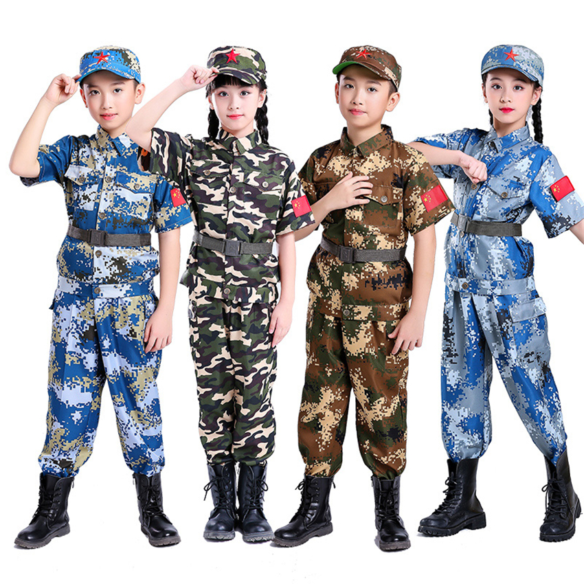 Hearty Combat Disguise Special Force Cosplay Fancy Halloween Costumes For Kids Uniform Carnival Party Boy Clothing Set Girl Army Suit Non-Ironing Home