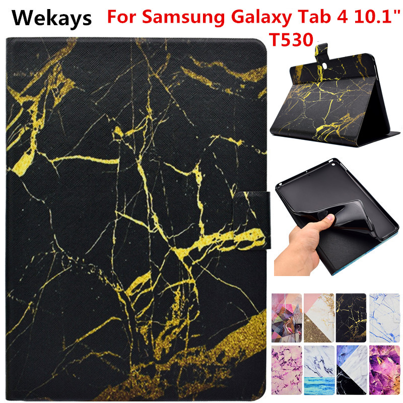 Wekays For Galaxy Tab 4 10.1 T530 Marble Leather Stand Funda Case For Samsung Galaxy Tab 4 10.1 T530 T531 T535 Tablet Cover Case removable wireless bluetooth keyboard for samsung galaxy tab 4 10 1 t530 t531 t535 protective folio pu leather case cover