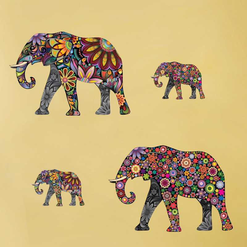 Creative Elephant Flower Pattern Wall Sticker Art Removable ...