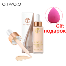 O.TWO.O 2Pcs Full Cover Liquid Face Foundation Base With Makeup Sponge Cosmetic Puff Long Lasting Concealer Primer BB Cream 15ml