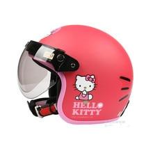 Мода мотоцикл половина шлем Женщин Скутер Открытым лицом шлем Старинные e-велосипед шлем Hello kitty шлем