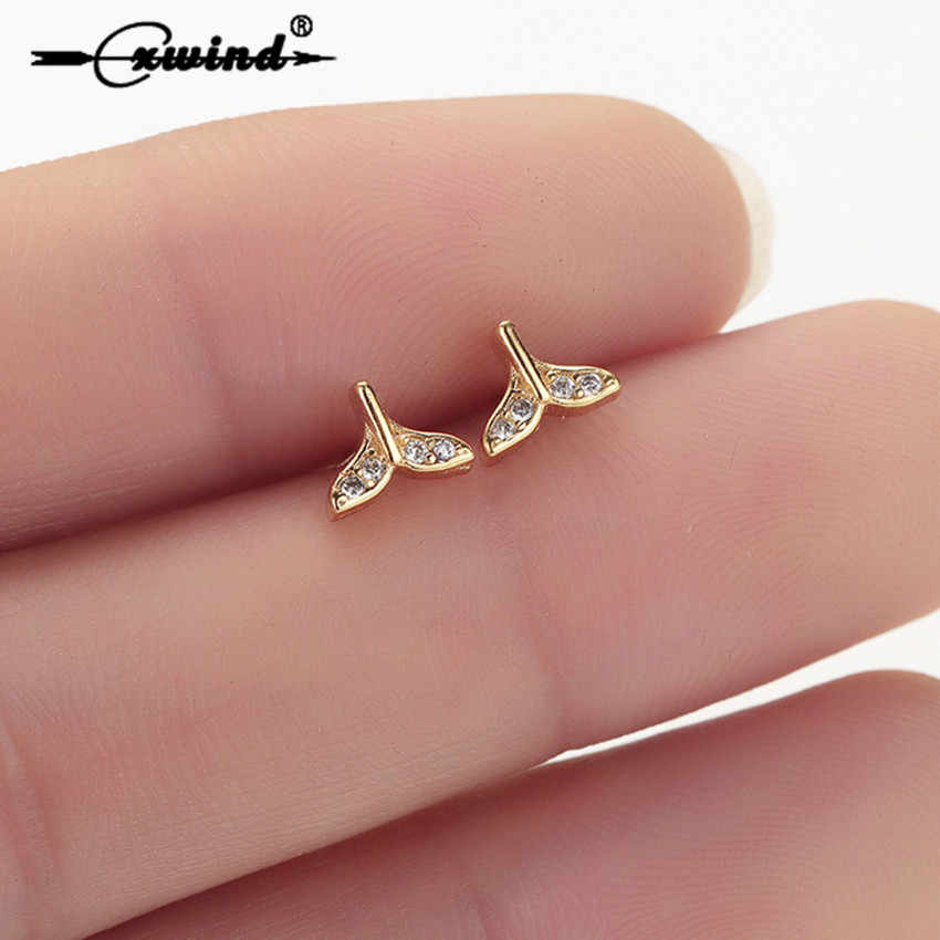 Cxwind New Crystal Whale & Dolphin Mermaid Tail Stud Earrings for Women Wedding Triangle Earrings Jewelry femme 2019 Earring