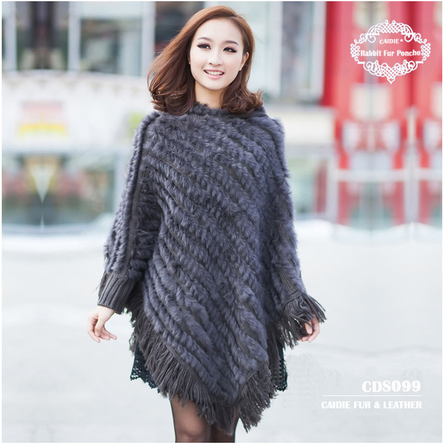 CDS099 Wholesale 2015 Europe Hot sale Large Knitted Genuine Rabbit Fur Hooded Poncho Women Large Rabbit Fur  Cape Shawl