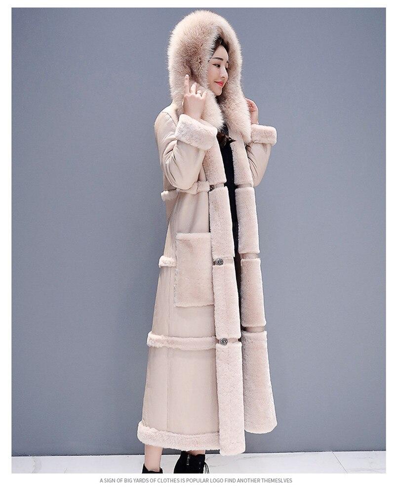 Grueso Piel Maxi Ruso 2018 Collar Tamaño Mujer Peluda Abrigos Beige n6HqSO0xw8