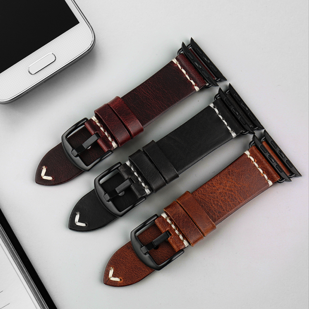 Image 4 - MAIKES Vintage huile cire cuir Bracelet de montre pour Apple Bracelet de montre 44mm 40mm 42mm 38mm série 4/3/2 iWatch montre Bracelet Bracelet de montrestrap for apple watchwatch strapleather watch strap -