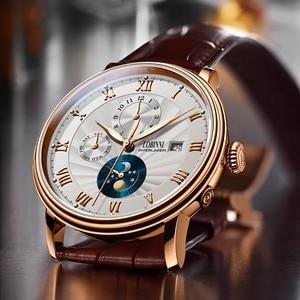 Image 4 - Neue LOBINNI Schweiz Männer Uhren Luxus Marke Armbanduhren Seagull Automatische Mechanische Uhr Sapphire Mond Phase L1023B 5