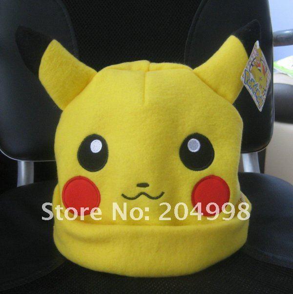 "Free shipping Anime Pokemon Pikachu Plush hat Fashion 10 ""Winter cap  Wholesale"