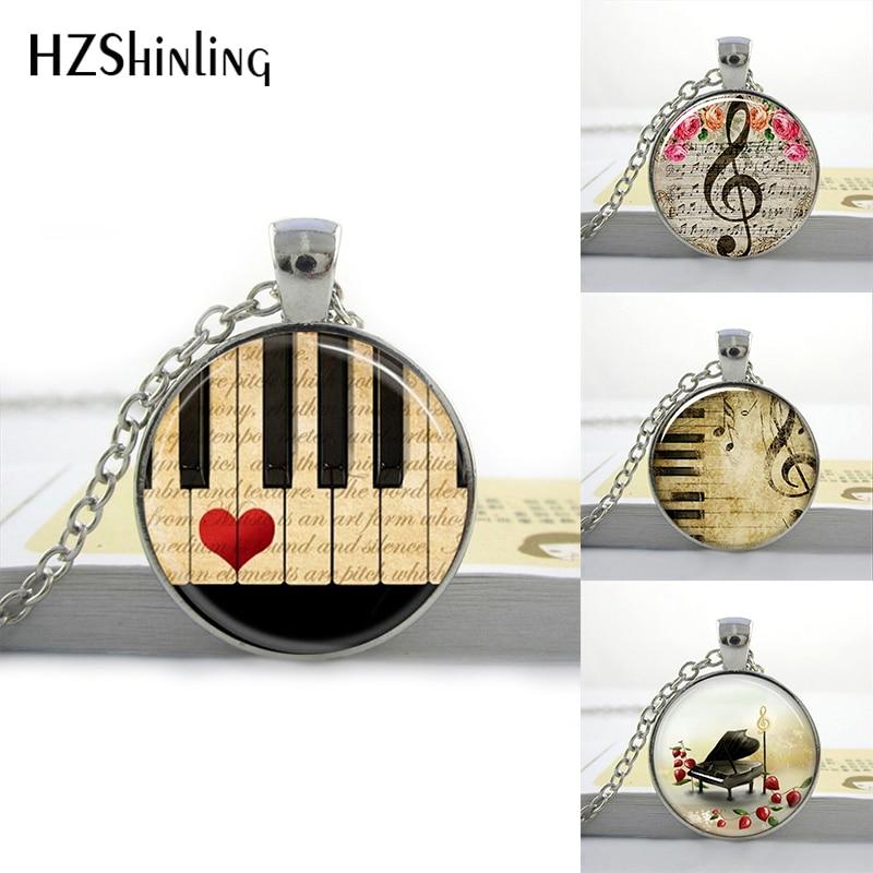 HZShinling Art Glass Round Necklace Music Pendant G-Clef Necs