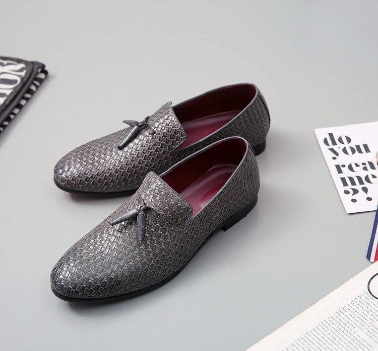 Кожаные тканые туфли; мужские оксфорды с острым носком; модельные туфли; мужские итальянские лоферы; официальная Свадебная обувь; zapatos hombre; повседневная обувь - Цвет: 2