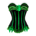 Sexy LACE Striped Satin Lingerie Overbust Corset Clubwear showgirl Waist Cincher Bustier Plus Size S-6XL zipper side