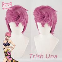 Anihut Trish Una Cosplay Wig Anime JOJO Bizarre Adventure Golden Wind Golden Cosplay Wig Trish Una Hair Halloween Cosplay