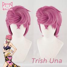[Anihut】trish Una Cosplay Wig, аниме JOJO, странные приключения, золотой ветер, парик для косплея Trish Una Hair, косплей на Хэллоуин