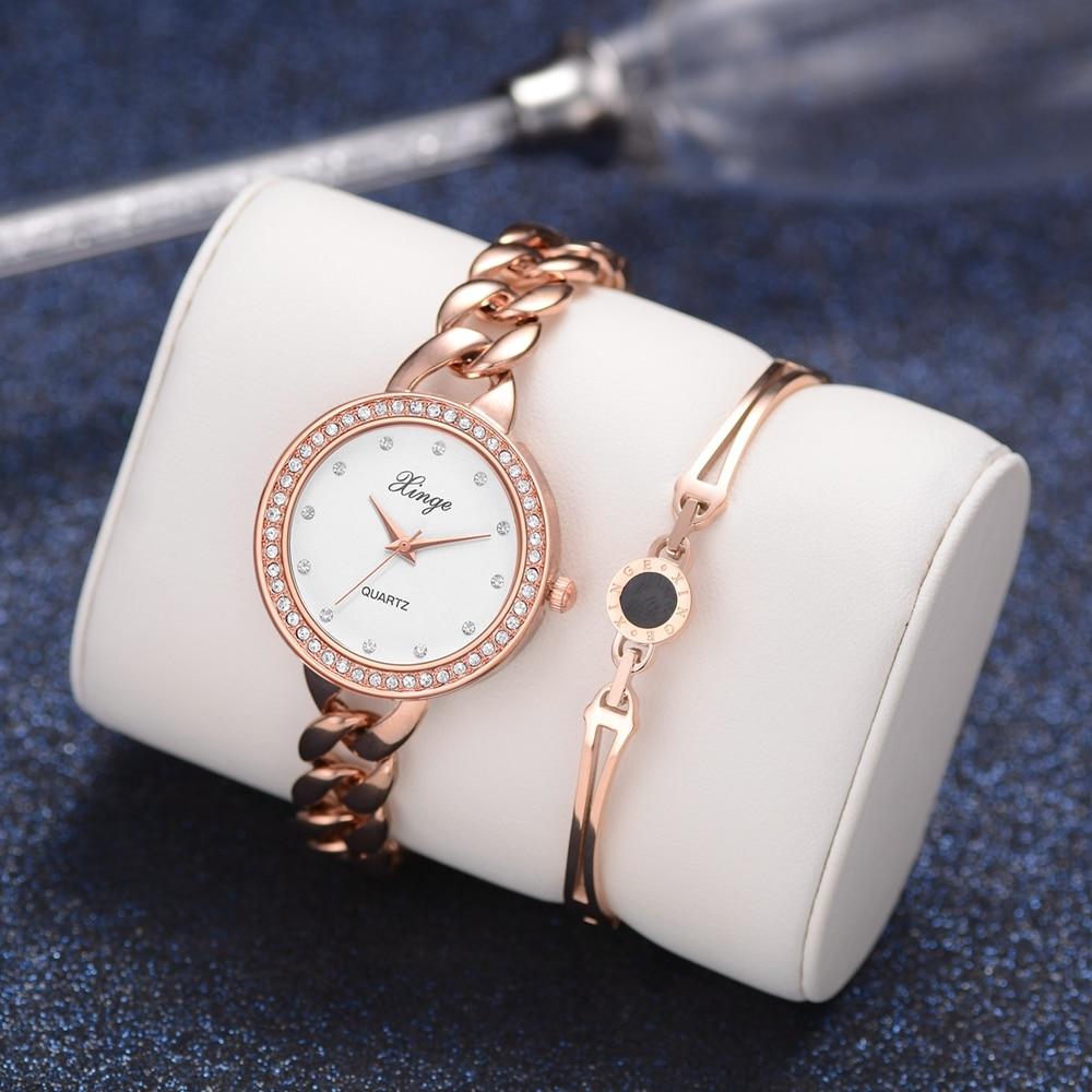 Xinge Brand Women'S Bracelet Watches Popular Watch Set Wristwatch Bracelet Waterproof Simple Elegant Rose Gold Watches Suit popular brand watch women gold bracelet weave leather