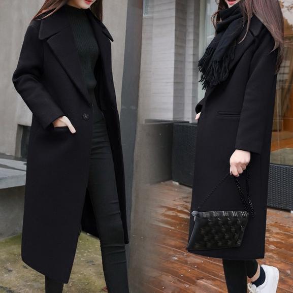 Manteau light Taille Laine 2xl Slim Mélanges Black Manteaux camel Hiver Chaud Femmes Plus Long Épaissir Khaki WCfOBnBS
