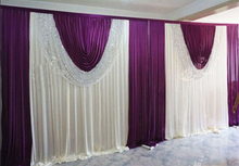 cheap grape purple wedding backdrop curtain with swag wedding drapes, backdrop wedding reception with sequin