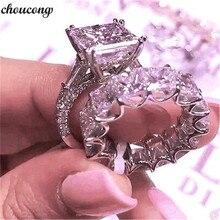 Choucong кольцо Вечность 925 пробы Серебряное принцесса огранка 4 мм AAAAA cz Promise обручальное кольцо кольца для женщин вечерние ювелирные изделия