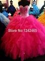 Puffy Ruffle Organza vestidos Quinceanera Formal vestidos de Quinceanera com frisos QM175