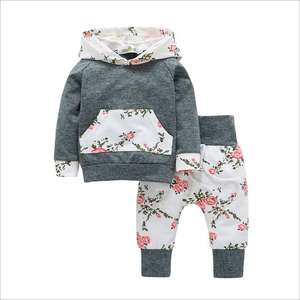 76bdc81b8 2018 New children kids baby clothing 2018 Autumn long-sleeved 2pcs sets  girls Tops Hooded sweater +floral pants baby clothes