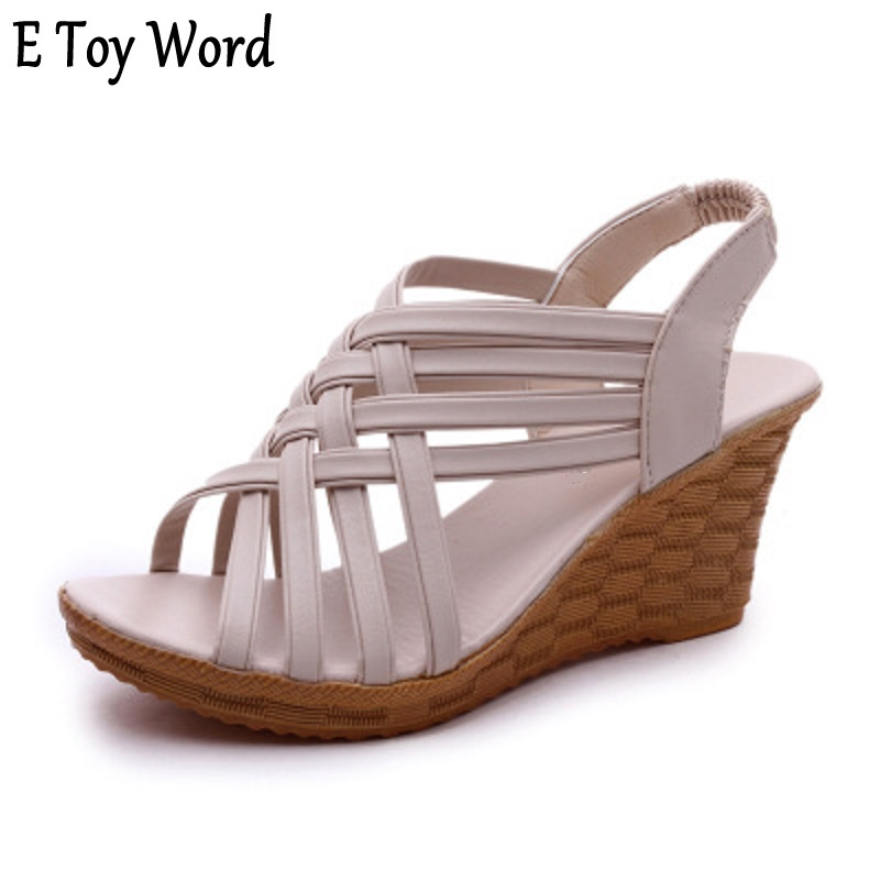 E toy word Spring/summer 2017 European and American new wedges and sandals women feel fish mouth hollow high heels size 35-40