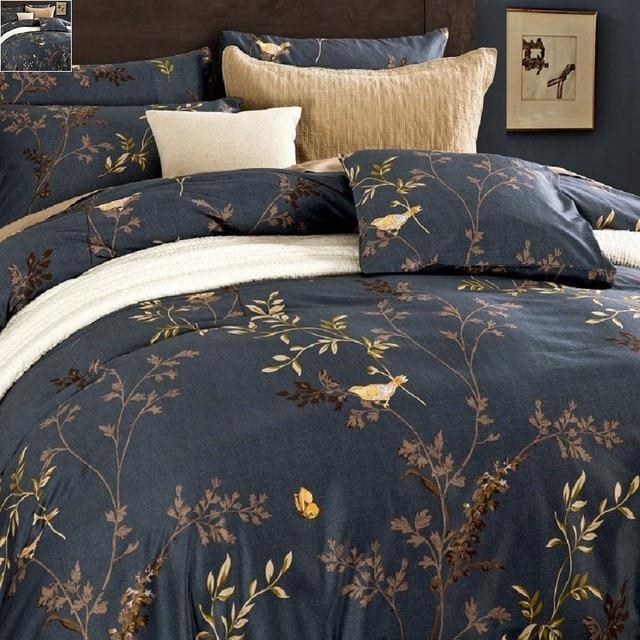Luxuriöse ägyptischer Baumwolle Bettwäsche Sets Blume Vogel Muster