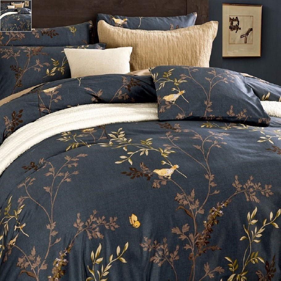 Luxurious Egyptian Cotton Bedding Sets Flower Bird Pattern Duvet Cover Set Bed Sheet Pillowsham 4pcs Pastoral Tribute Silk