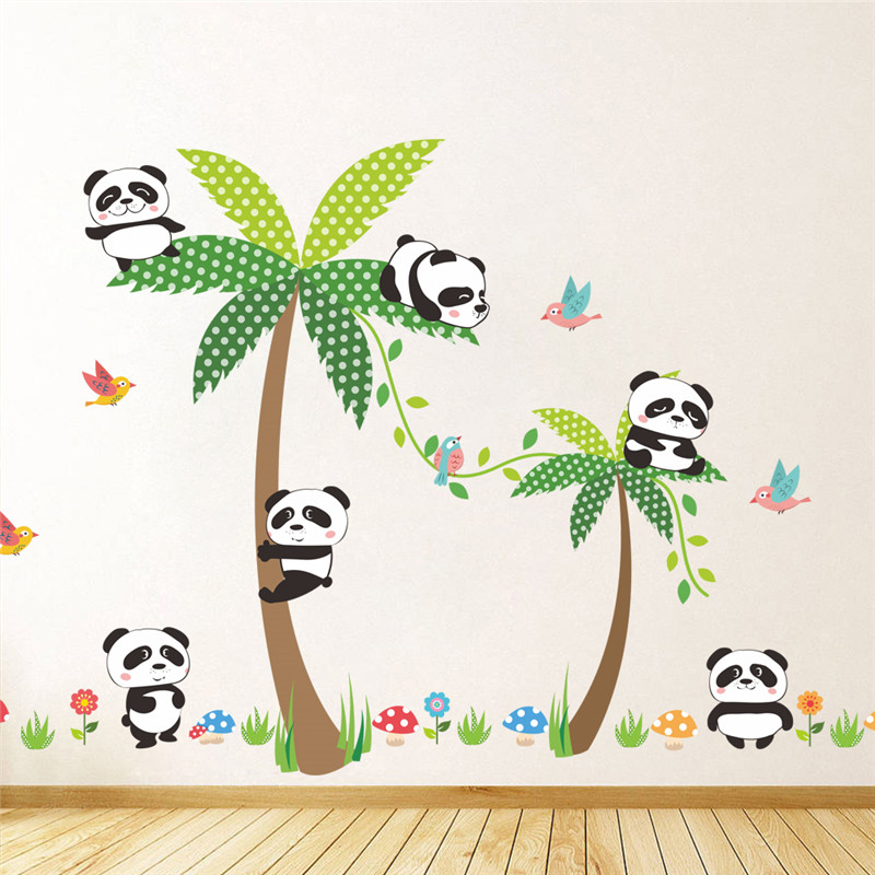 Naughty Baby Panda With Coconut Tree Wall Stickers For Kindergarten Kids Room Decorations Safari Mural Art Diy Home Decal Poster