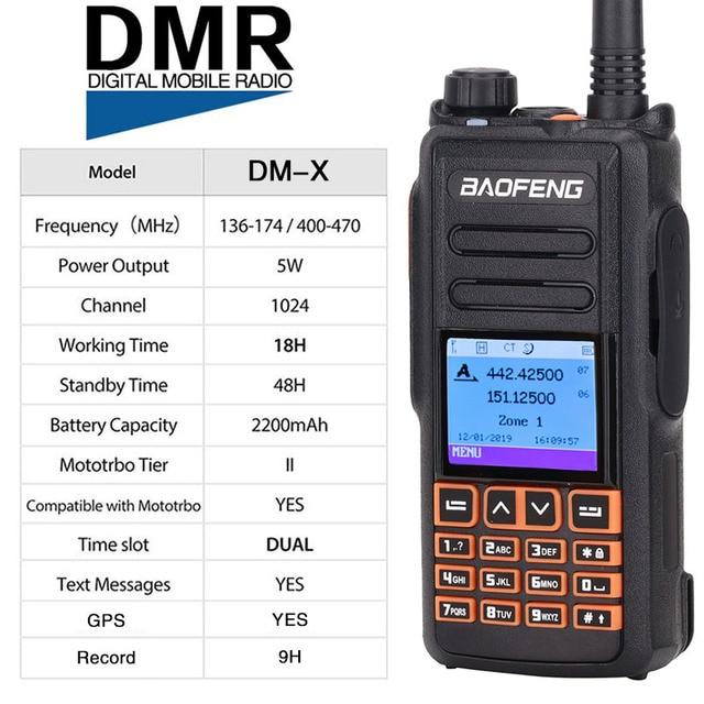 2 Băng Tần DMR Bộ Đàm Baofeng DM X GPS Kỹ Thuật Số Tai Nghe Bộ Đàm 5W VHF UHF Khe Thời Gian DMR Hàm Nghiệp Dư VÔ TUYẾN HF Thu Phát