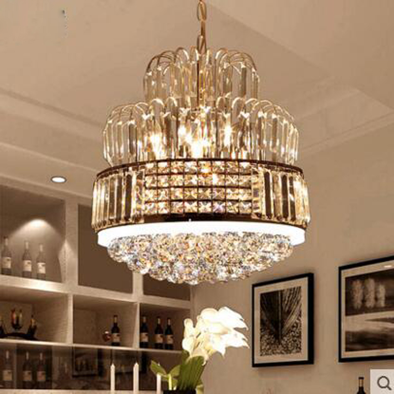 все цены на European crystal chandelier led restaurant chandelier modern minimalist dining room table bedroom room lighting living room lamp