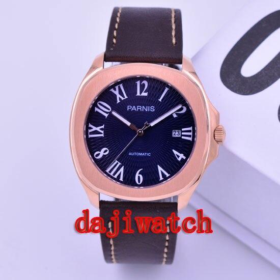 40 мм часы Parnis розовое золото корпус темно синий/белый циферблат miyota автоматические механические мужские часы miyoa 821A PN 478