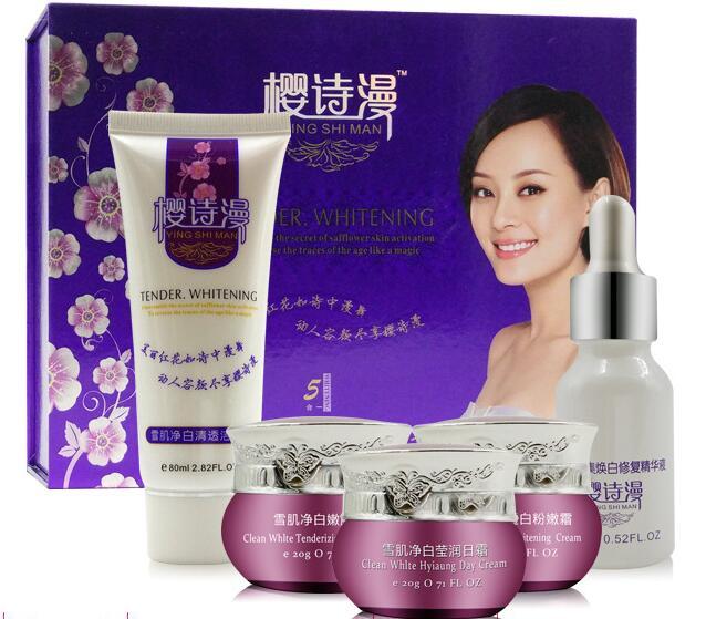 YING SHI MAN 5 pcs Face Skin Care Set Repair Whitening Nursing moisturizing remove Freckle lip membrane nursing care set