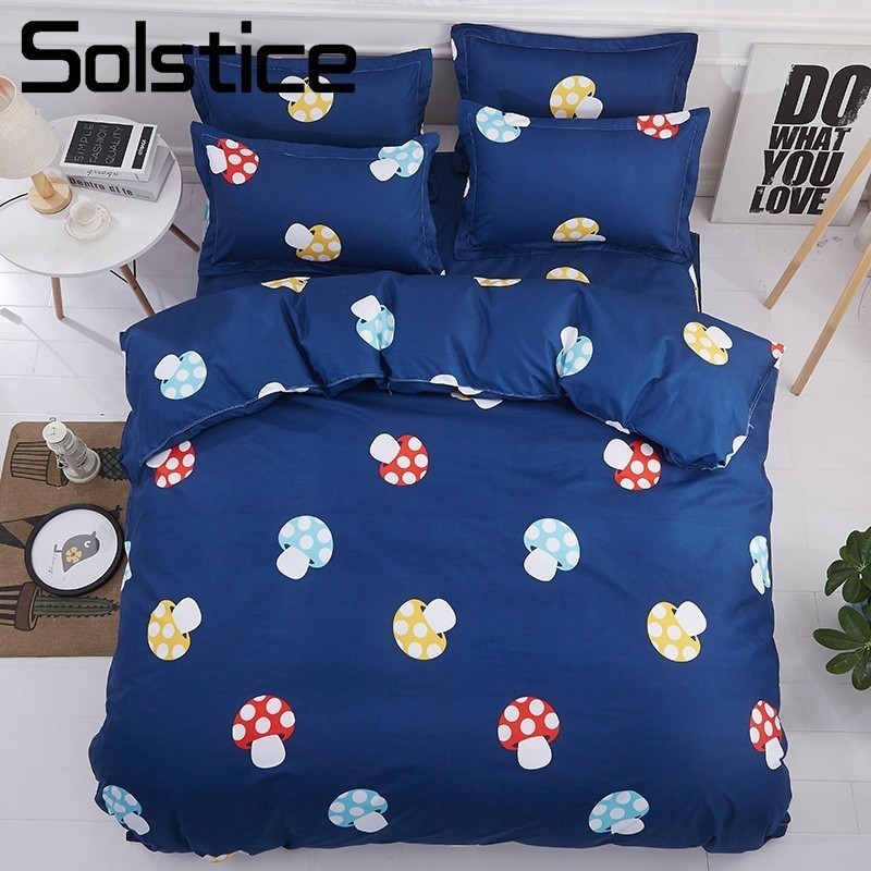 Solstice Home Textile Mushroom Dark Blue Quiet Bedlinen Kid Teen Girl Boy Bedding Sets Duvet Cover Pillowcase Bed Sheet Twin 3/4