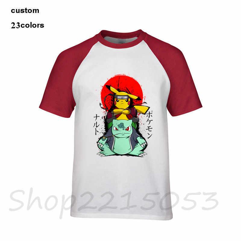 7e07b35d ... 2019 streetwear PIKUTO pikachu & bulbasaur x naruto 2 pokemon Men T-Shirt  japan anime ...