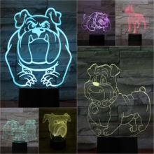 Dog Bulldog Desk Lamp Bedside 3D Illusion Room Decorative Child Kids Baby Kit Tom and Jerry Speike Night Light LED