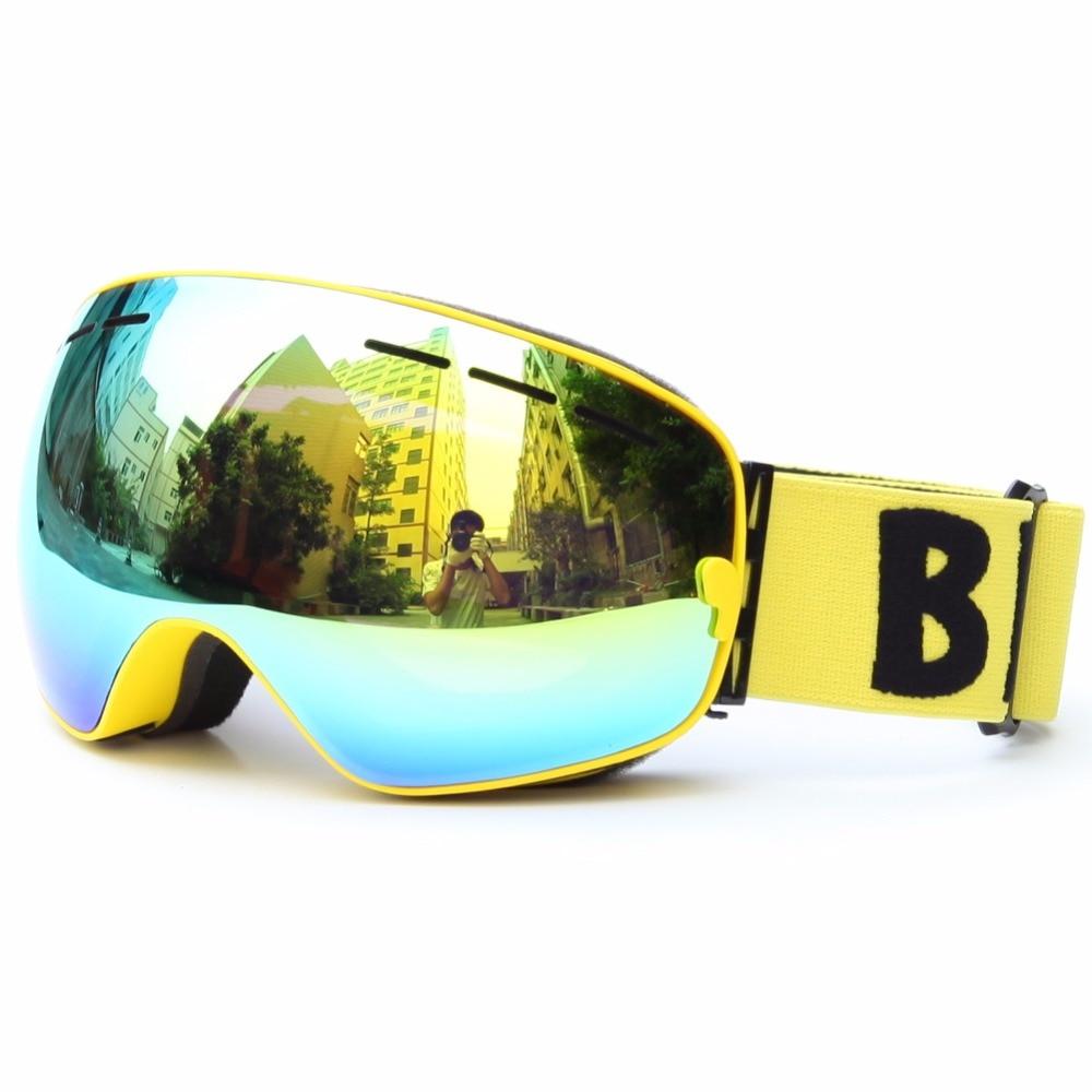 Горячие новые лыжные очки 100% УФ доказательство двойной слой анти-туман объектив катание на лыжах снег скейтборд очки очки защитить