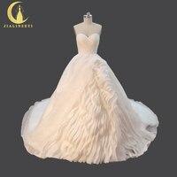 Jialinzeyi Сексуальная Милая органзы оборками ручной работы свадебные бальное платье Лидер продаж свадебное платье 2017