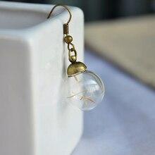 Dandelion Seed Real flower wish good luck Drop earrings for women fashion diy vintage fine charms retro jewelry