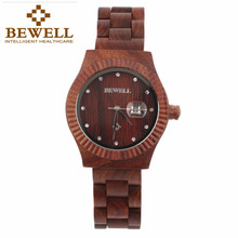 JYL Bewell W064A Wooden Watches Womne's Crystal Calendar Quartz Wrist Watch Special wood design relogio masculino