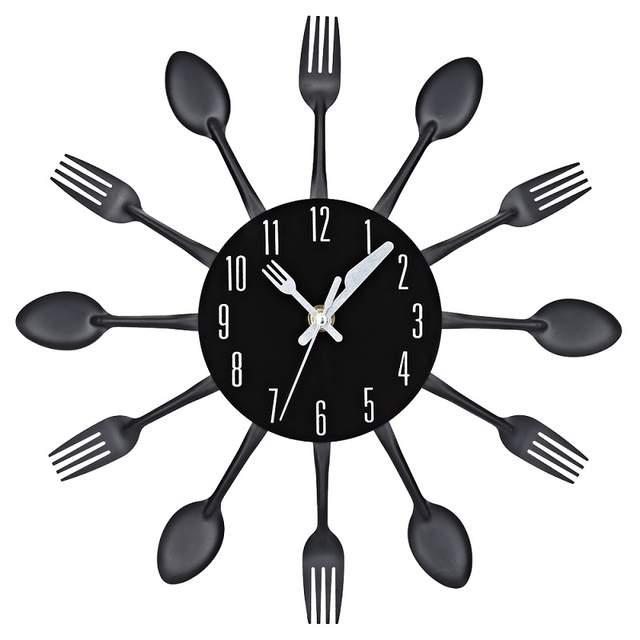 5e86354d767 placeholder 4 Cores Modern Tira Multi-cor Talheres Cozinha Mecanismo de  Relógio de Parede Garfo Colher