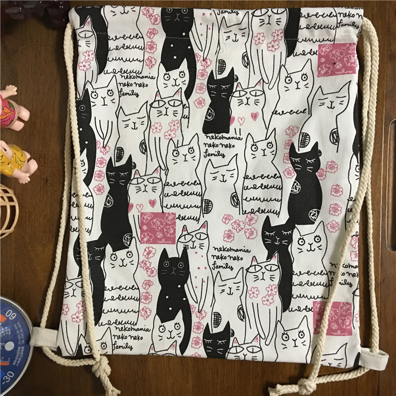 YILE Cotton Canvas Drawstring Student Backpack Travelling Bag Shoes Bag Printed Black White Cat 1745e