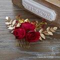 De Gama alta pelo rojo mujeres peines crystall horquillas joyería artificial flor adornos para el cabello accesorios nupciales de la boda Regalos xy051