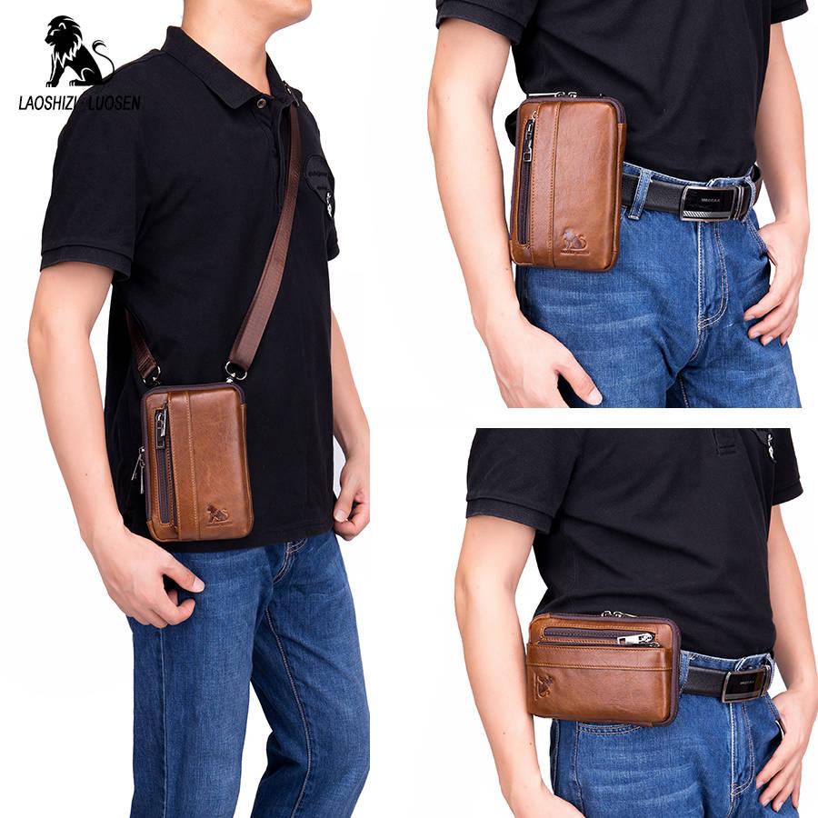 Genuine Leather Male Waist Fanny Packs Belt Bags Small Messenger Shoulder Men Phone Pouch Blosa Card Holder Key Cigarette Case